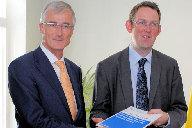 Paul Maynard MP meeting Mr Geert Bourgeois, the Flanders Government Tourism Minister in August 2012.