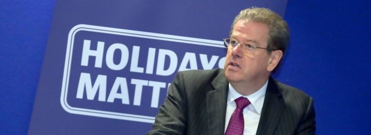 Peter Long addressing the Holidays Matter conference earlier this month at World Travel Market in the Excel Centre, London.